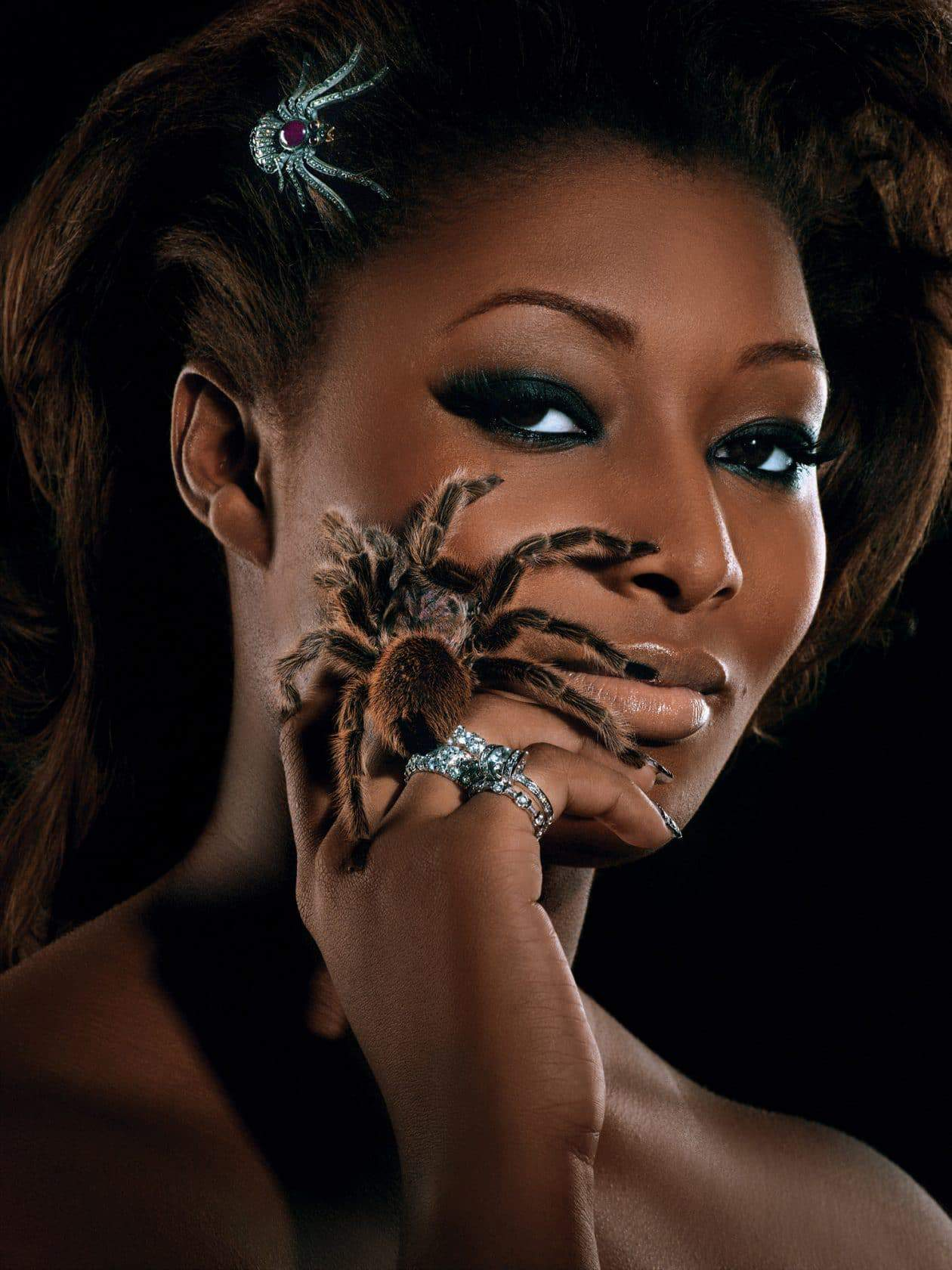 """""""The Girl Who is Panic Stricken""""--Toccara, student; age 22 of Dayton, Ohio, models diamond jewelry, while also accessorized with a live tarantula in AMERICA'S NEXT TOP MODEL on UPN Photo:Diodato/UPN. (c) 2004 CBS Broadcasting Inc. All Rights Reserved."""
