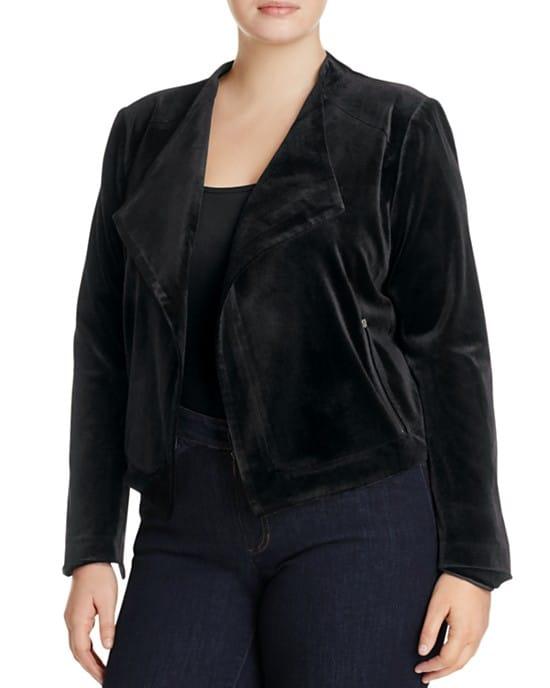 Lysse Plus Size Velvet Moto Jacket/Bomber