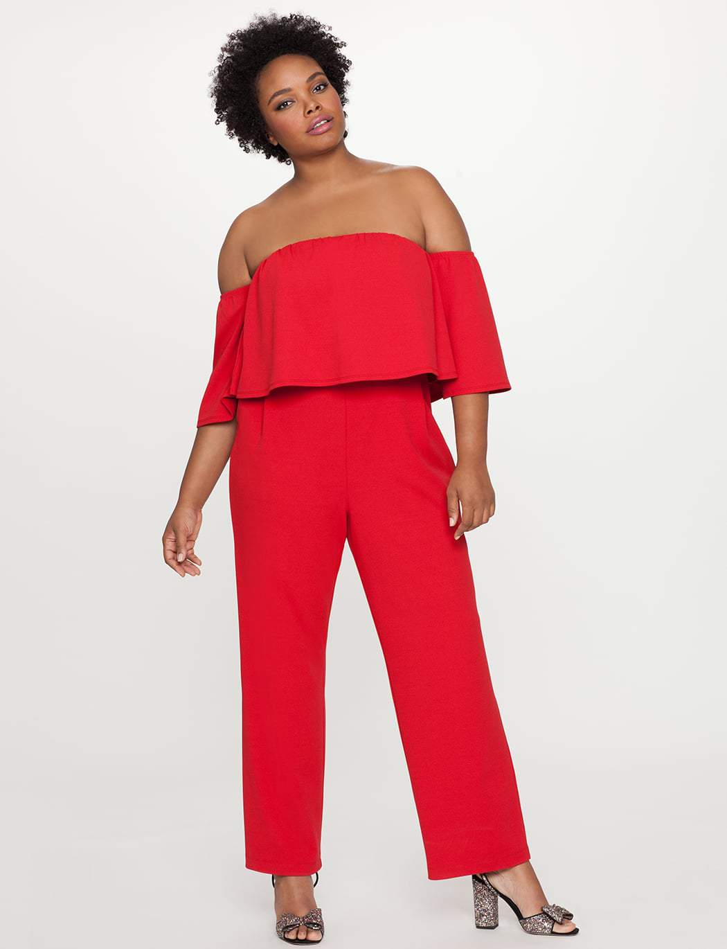 Off the Shoulder Ruffle Overlay Plus Size Jumpsuit
