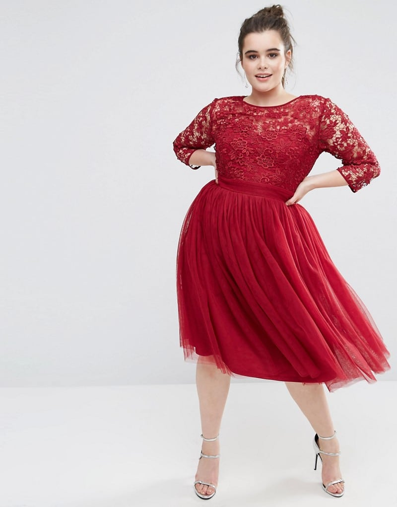 Little Mistress Plus Short Sleeve Lace Bodice Midi Dress With Tulle Skirt