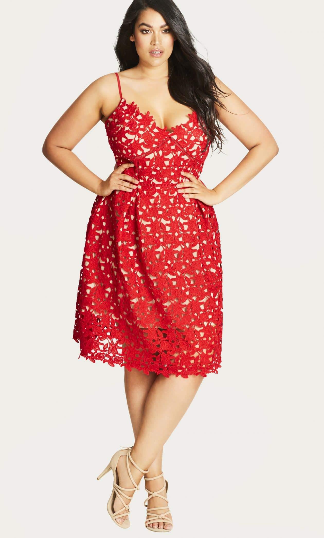 So Fancy Scarlet Crochet Fit Flare Dress at CityChicOnline