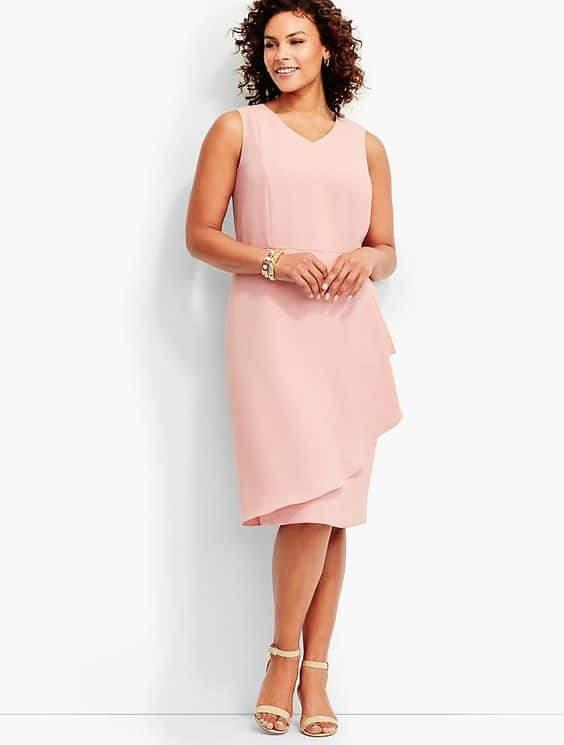 Talbot's Petite Plus Refined Crepe Side-Drape Sheath Dress