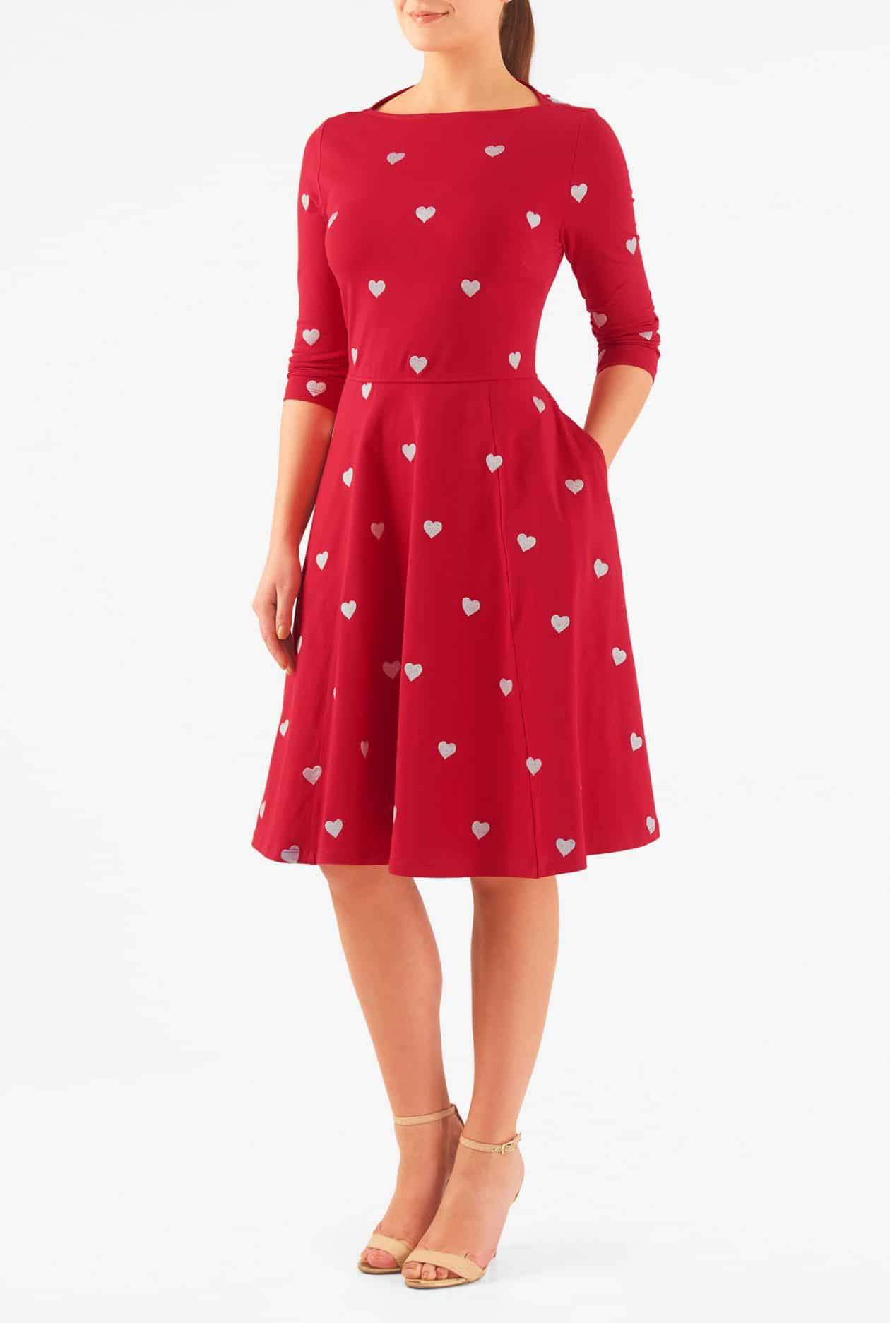 eShakti Heart Embellished Cotton Knit petite plus size Dress