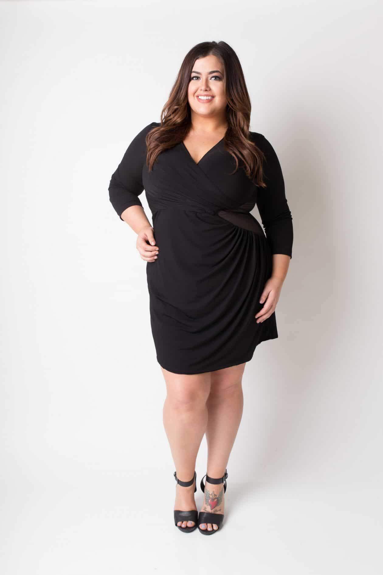 Myrda J Petite Plus Draped Side Mesh Dress with 3/4 Sleeve