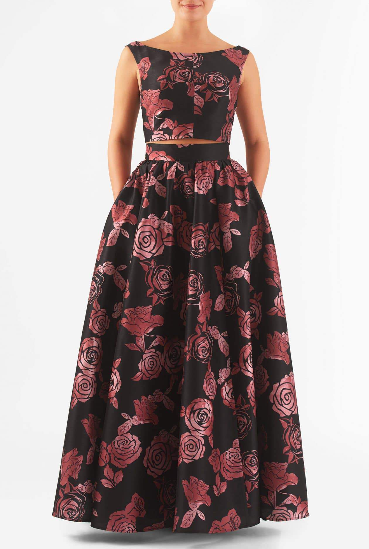 ROSE PRINT DUPIONI TWO-PIECE MAXI DRESS
