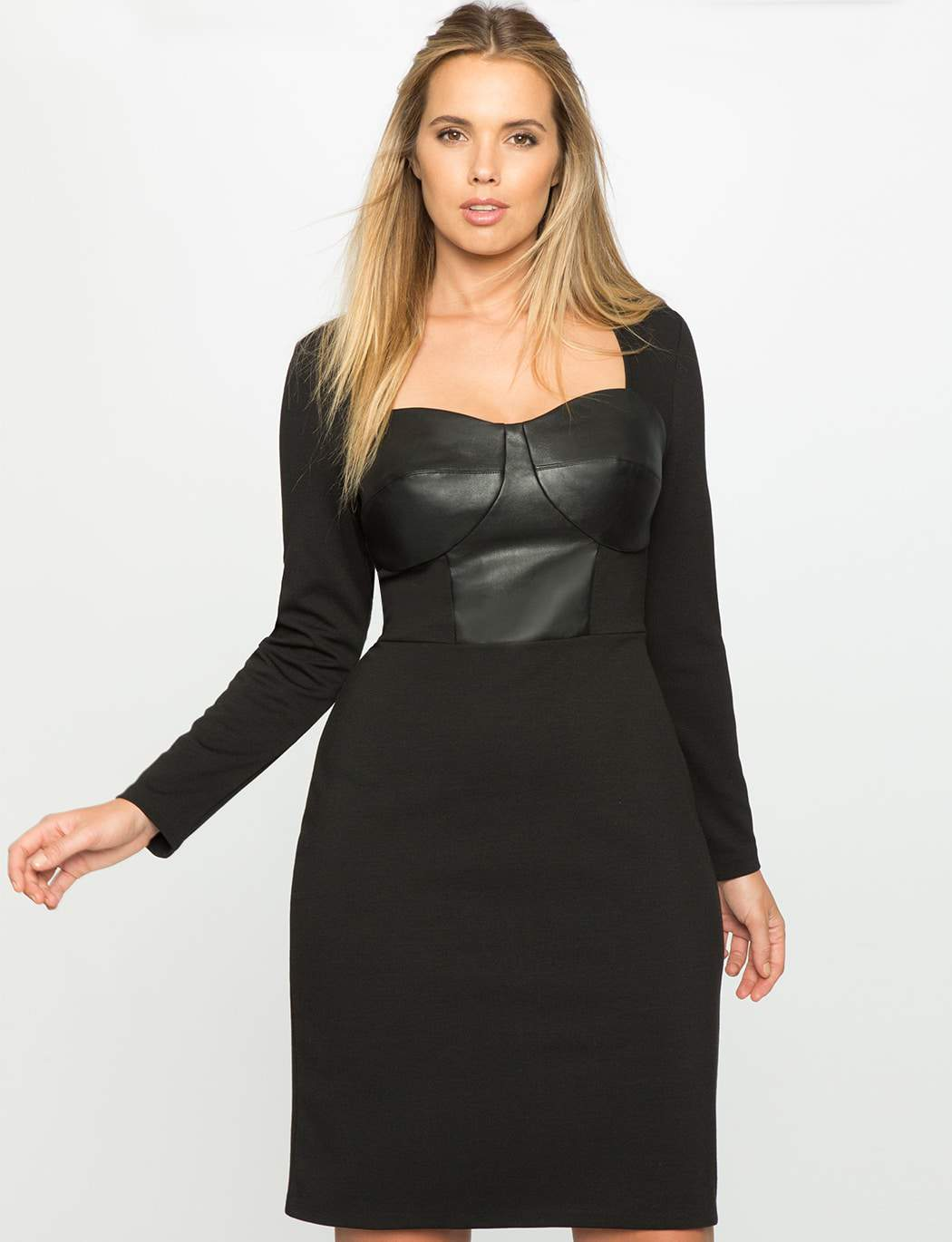 ELOQUII faux leather empire dress