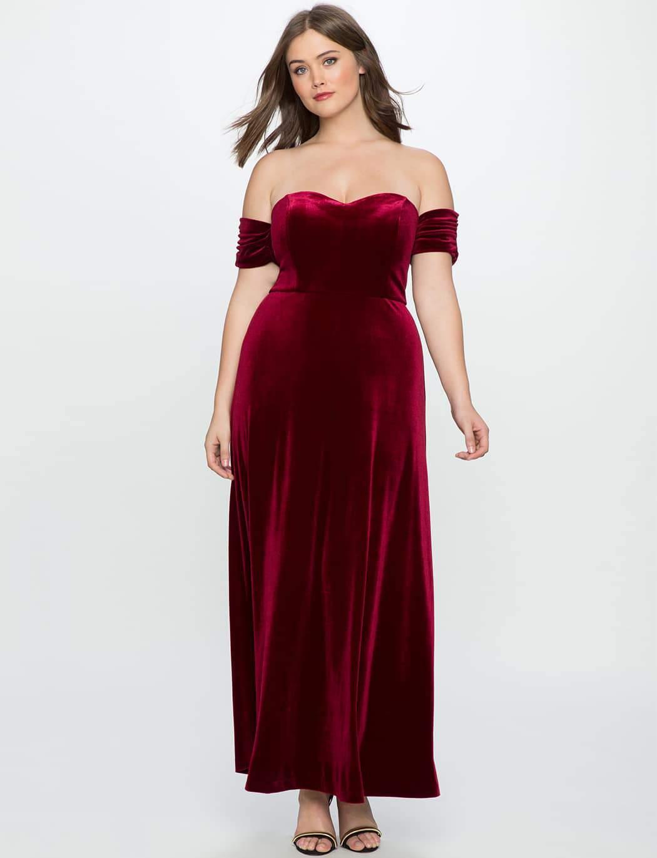 Plus Size Petite Velvet Off the Shoulder Gown