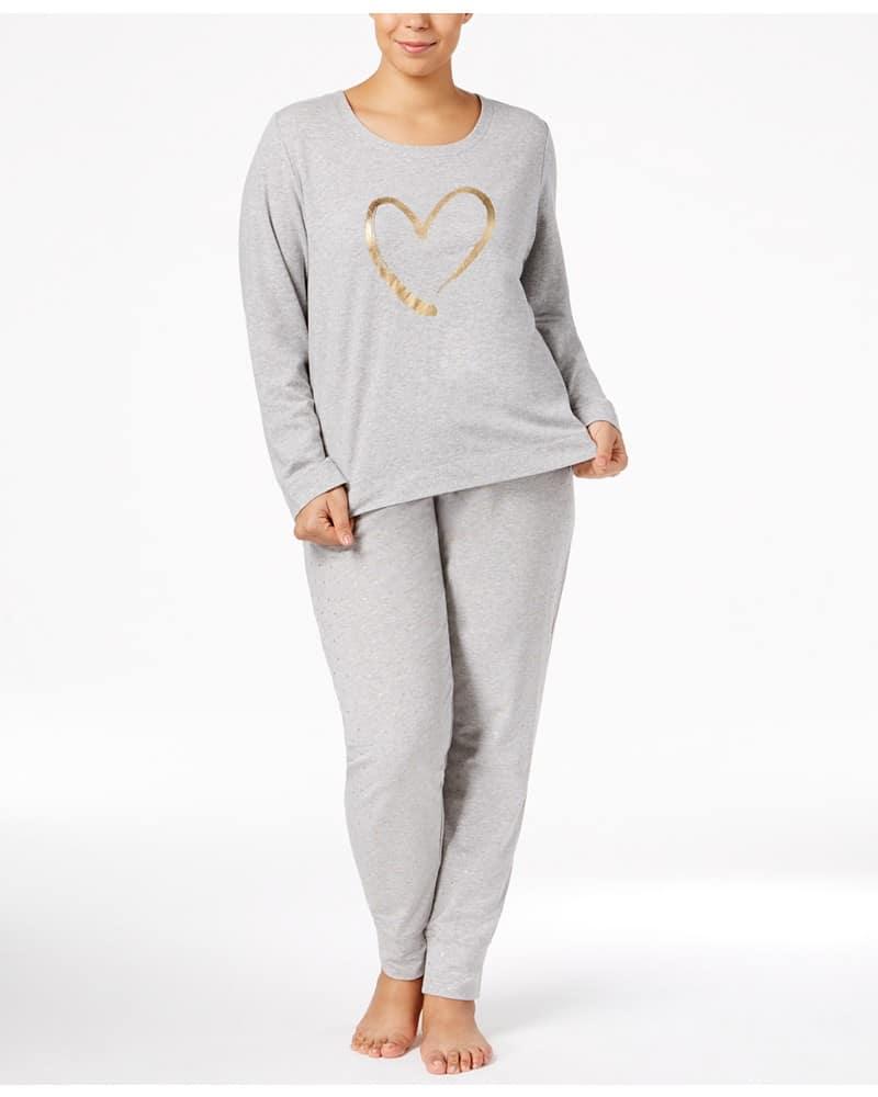 Hue Plus Size Keyhole-Back Top & Cuffed Pajama Pants Sleep Separates