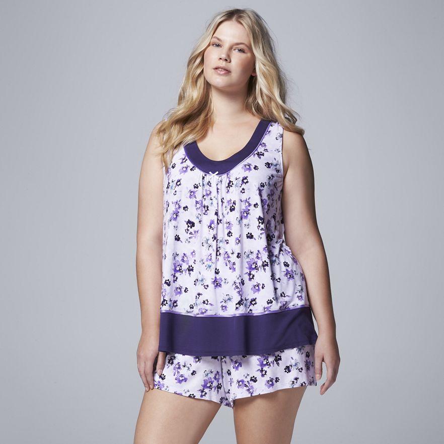 Simply Vera Vera Wang Pajamas: Light & Lacy Tank Top & Boxer Shorts Plus Size PJ Set