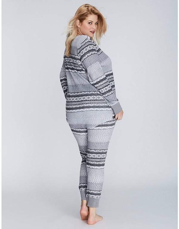 Fair Isle Thermal Long-Sleeve Tee & Legging Plus Size PJ Set
