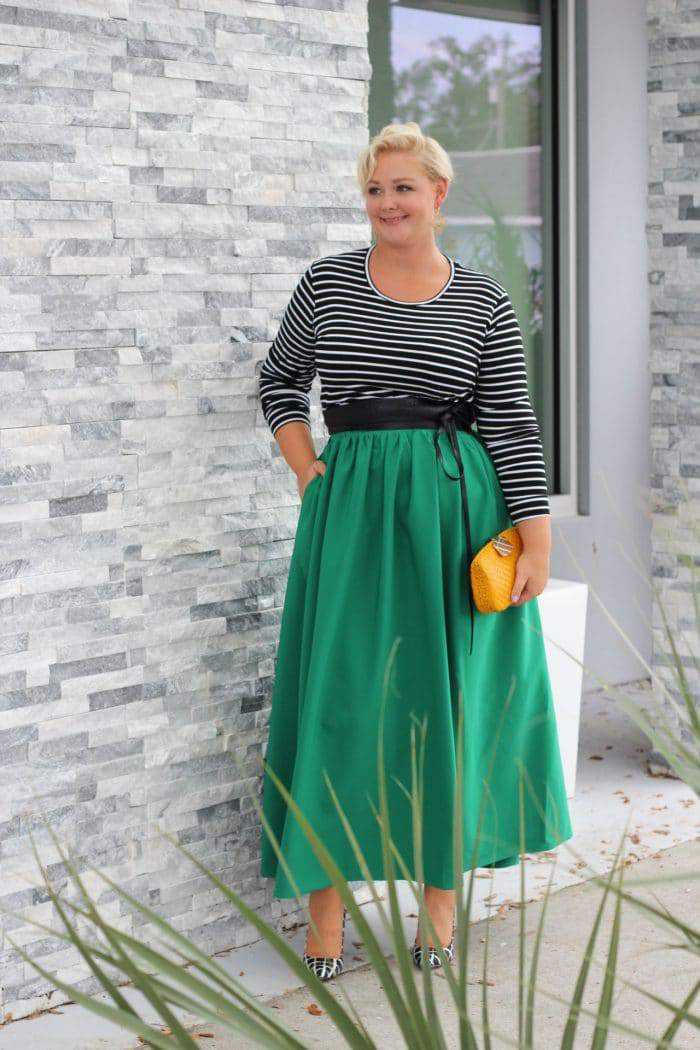 Twirl Maxi Skirt w/ Pockets - Emerald City at Society-plus.com