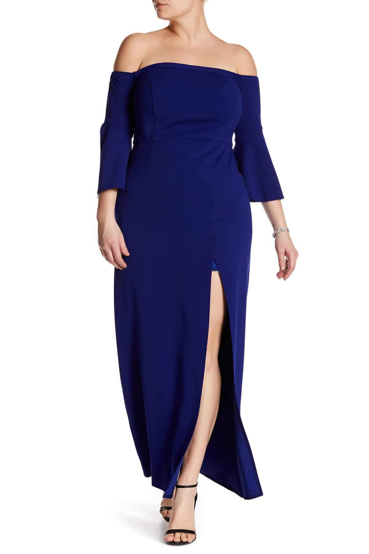 Off-The-Shoulder Bell Sleeve Gown