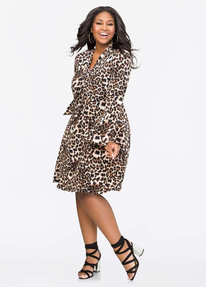 Leopard Tie Neck Bell Sleeve Dress