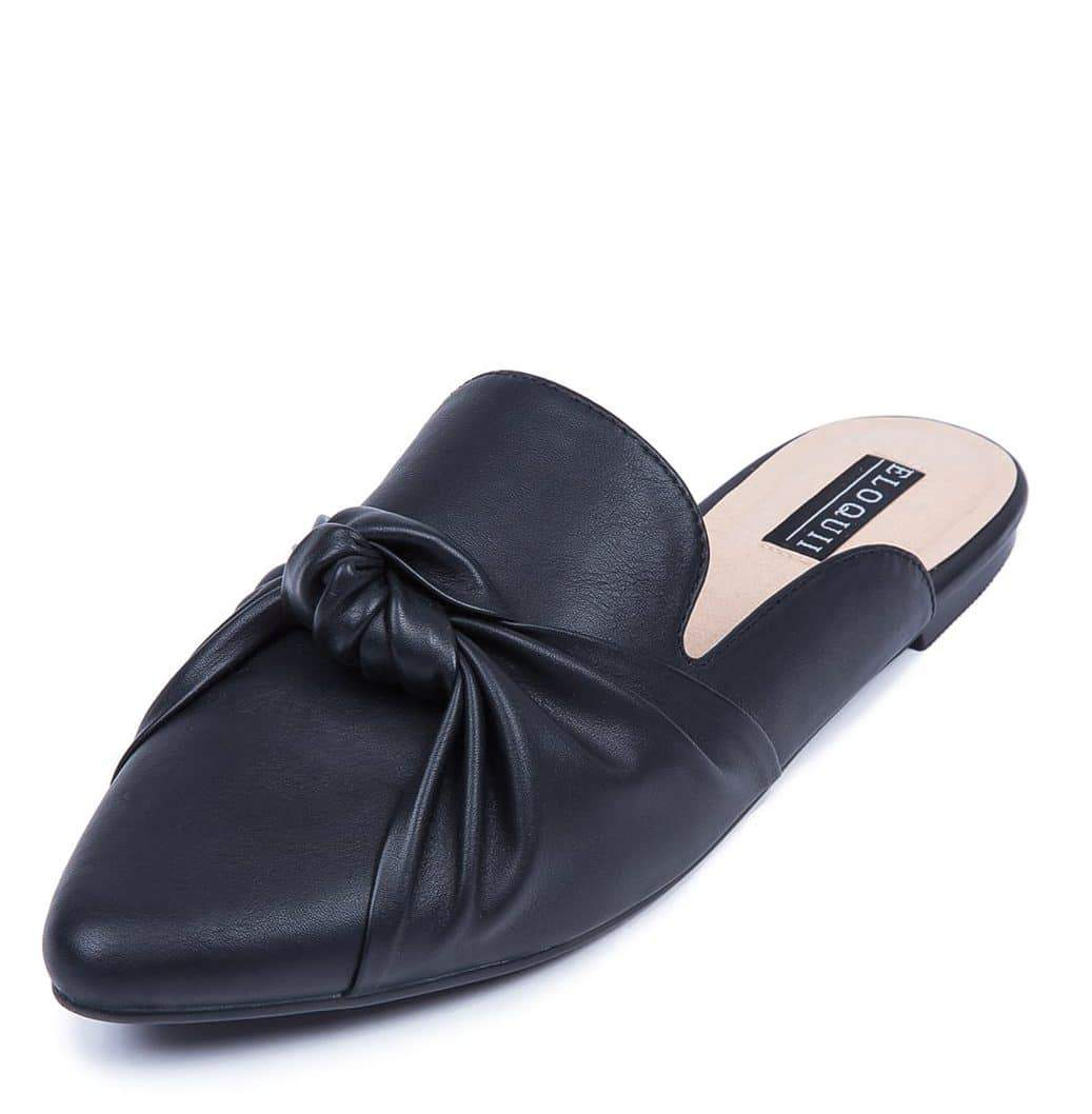 Faux Leather Knotted Wide width Mule at eloquii