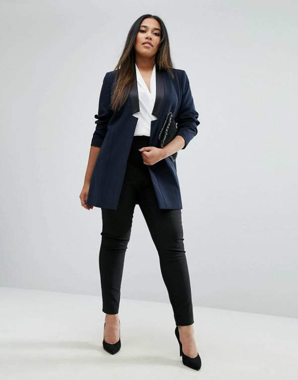 Plus Size Workwear Refresh: 7 Pieces to Update Your Look Right Now-ASOS CURVE Longline Tux Jacket