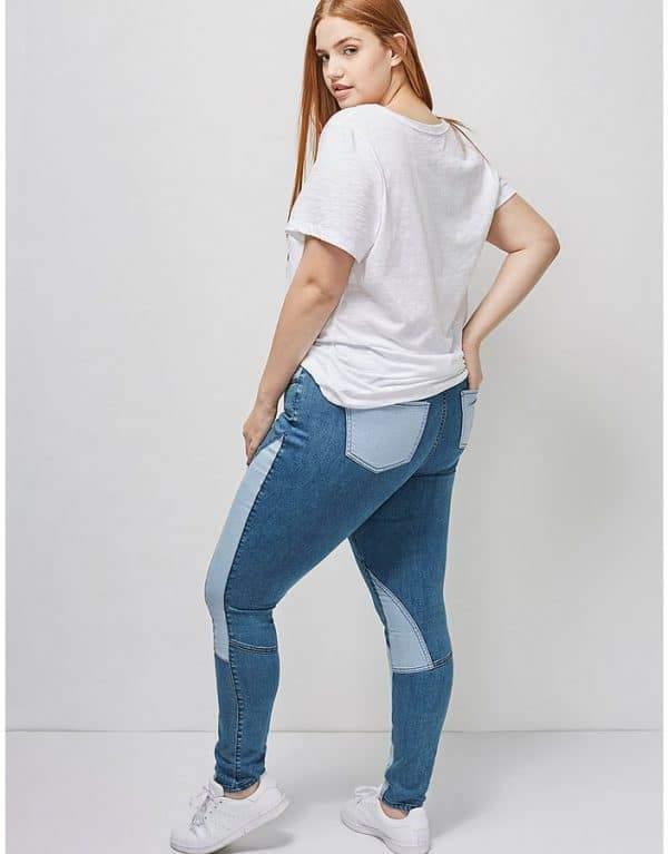 Patchwork Denim Skinny plus size Jeans at Lane Bryant