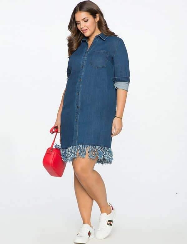 Fringed Denim Plus Size Shirt Dress
