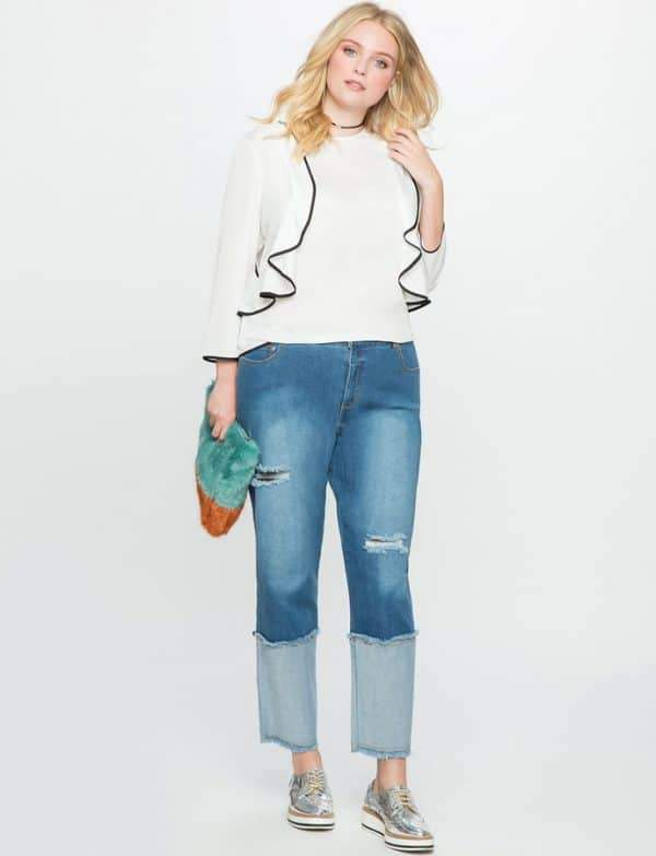 Studio Cuffed Plus Size Jean with Patches