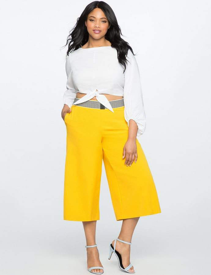 Eloquii 7 Must Rock, Yellow, Plus Size Faves- Wide Leg Cropped Side Pleat Pant