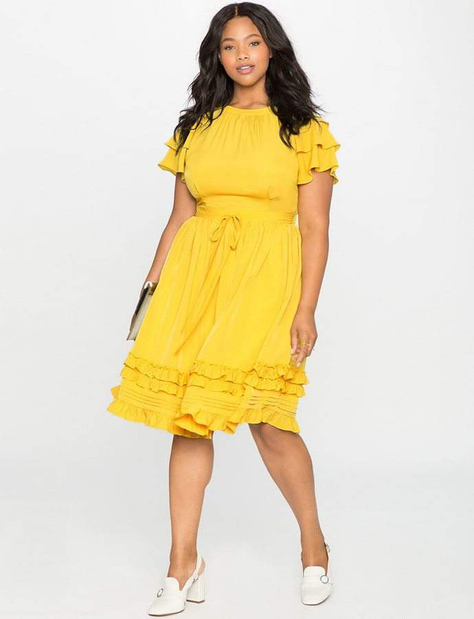 Eloquii 7 Must Rock, Yellow, Plus Size Faves- Ruffles and Pintucks Fit and Flare Dress