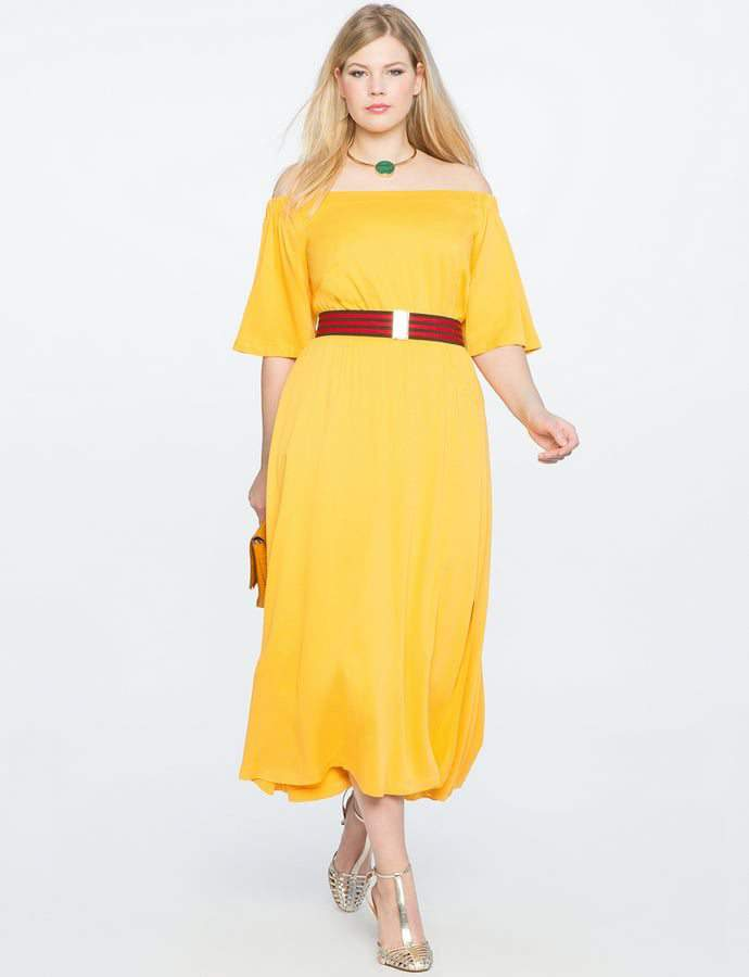 Eloquii 7 Must Rock, Yellow, Plus Size Faves- Off the Shoulder Midi Dress with Wrap Skirt
