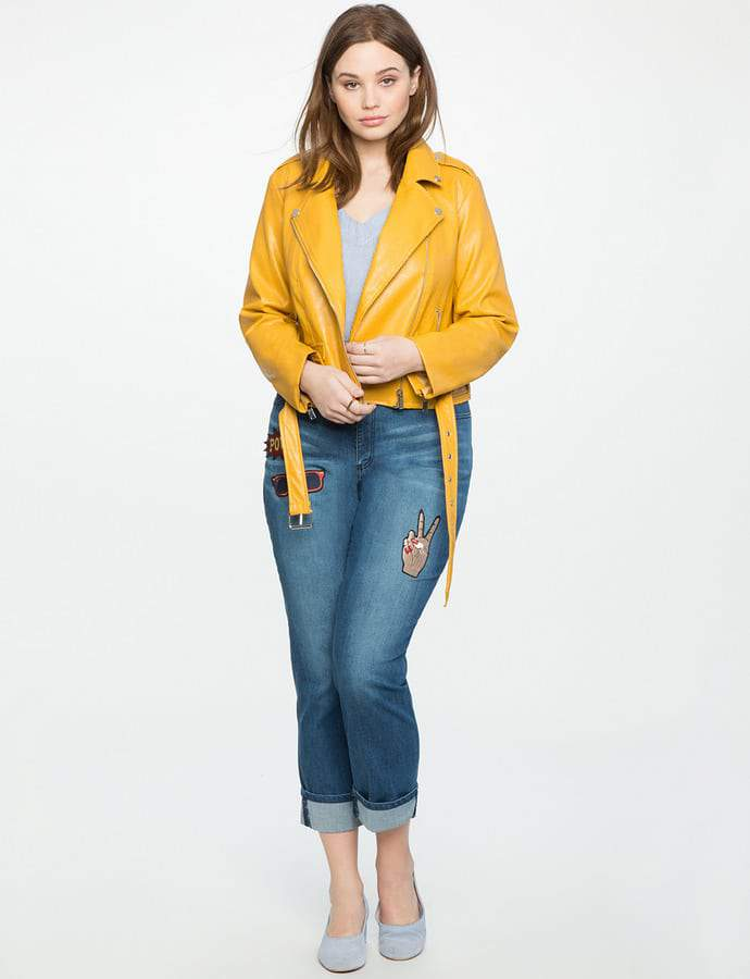 Eloquii 7 Must Rock, Yellow, Plus Size Faves- ELOQUII Plus Size Classic Moto Jacket