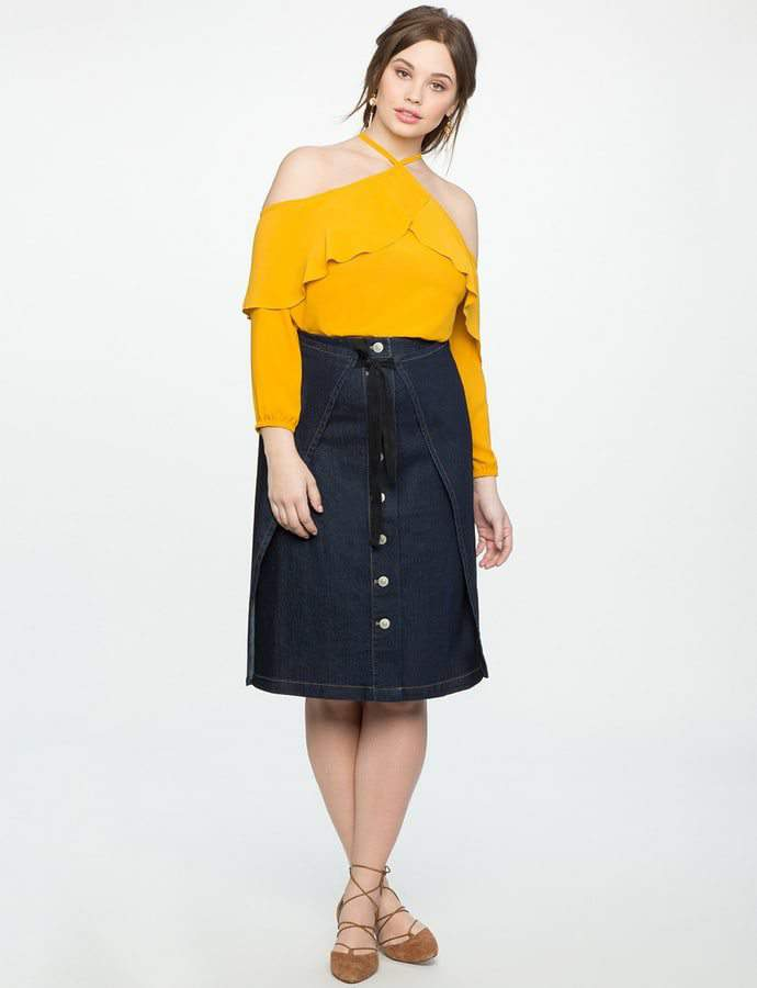 Eloquii 7 Must Rock, Yellow, Plus Size Faves- Halter Neck Cold Shoulder Flounce Top