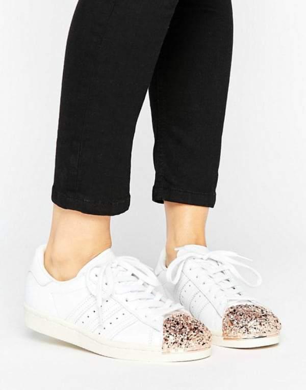 Rose Gold Sneakers- Adidas Originals Superstar 80S Sneakers With Rose Gold 3D Metal Toe Cap