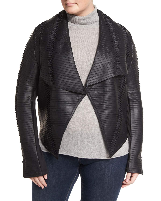 Faux-Leather Striped Drape-Front Jacket, Black, Plus Size