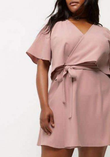 Plus pink cold shoulder frill tea dress