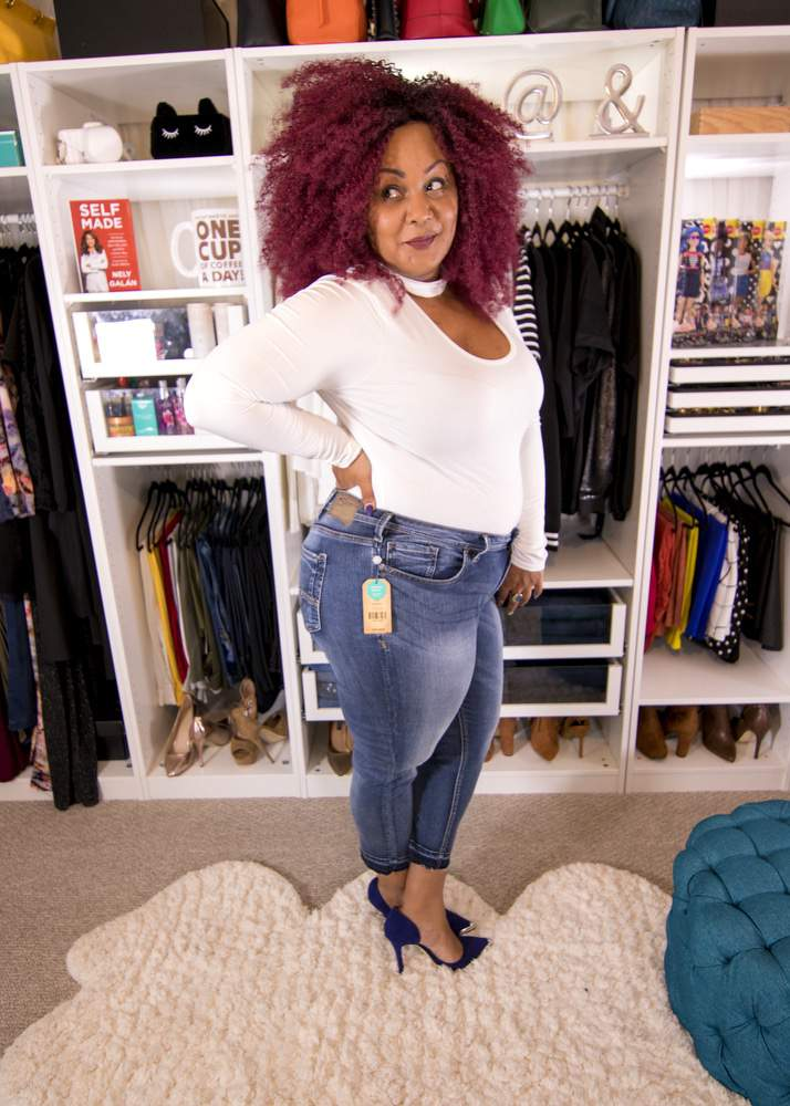 Plus size blogger, Marie Denee in Silver Jeans
