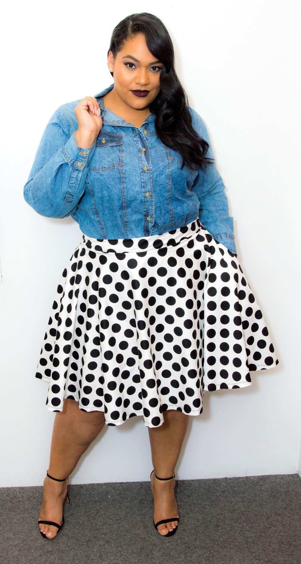 Plus Size Designer- Kay Dupree Polka Dot Skirt