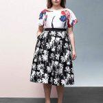 Black & White Floral Circle Skirt By Prabal Gurung