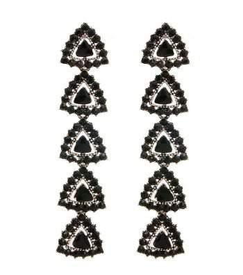 Black Stone Drop Earrings at SCFashionJewerly