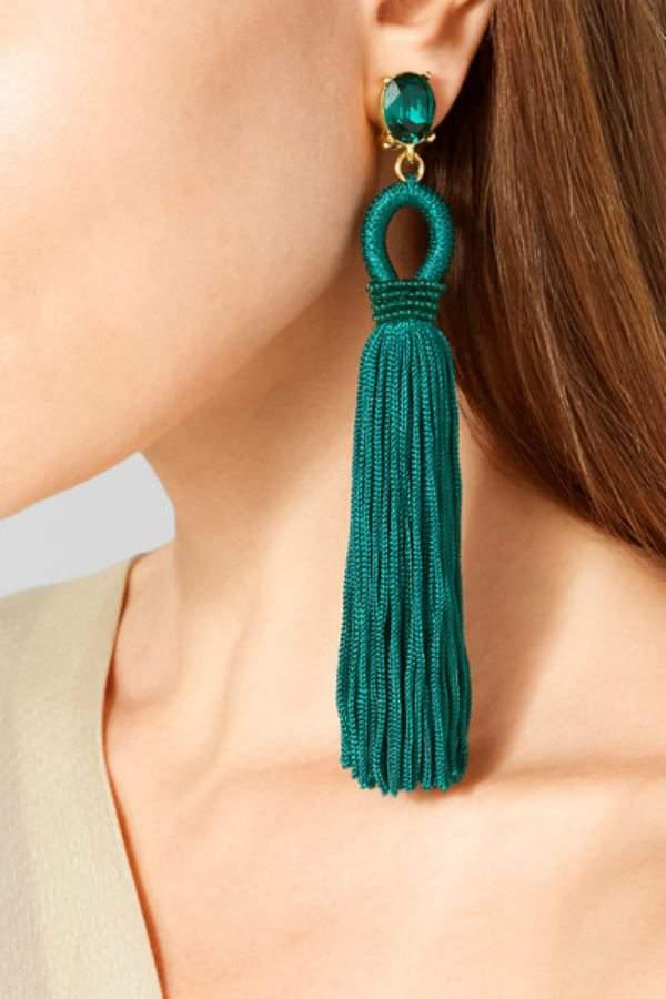OSCAR DE LA RENTA Tasseled silk, gold-tone and Swarovski crystal clip earring