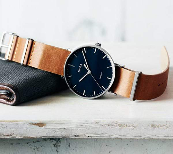 Timex® Fairfield Leather Strap Watch, 41mm at Nordstrom