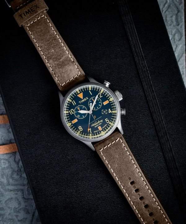 Waterbury Chronograph Leather Strap Watch, 42mm