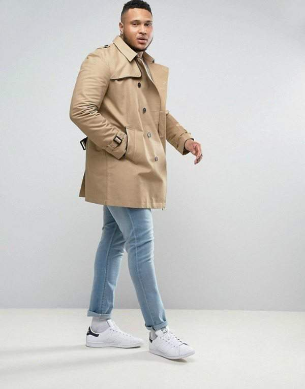 Double Breasted Trench Coat With Shower Resistance in Stone at Asos.com