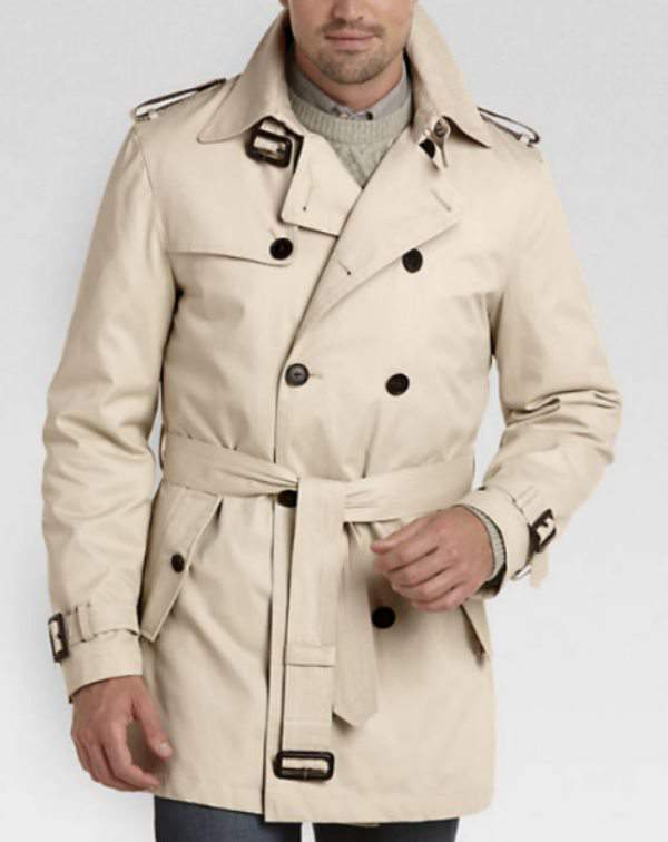 Joseph Abboud Tan Double Breasted Modern Fit Trench Coat at MensWarehouse.com