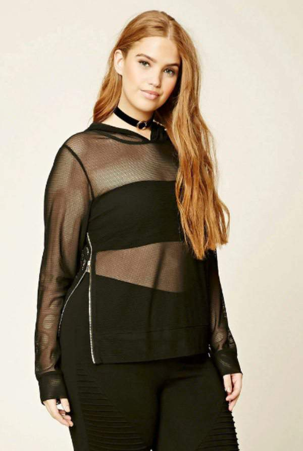 Hooded Open-Mesh Top at Forever 21.com
