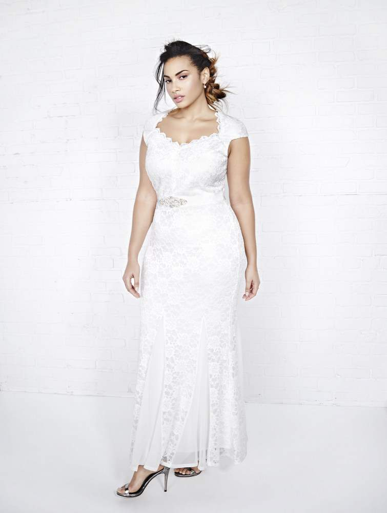 Addition Elle Violets & Roses Plus Size Lace Wedding Dress with Sweetheart Neckline