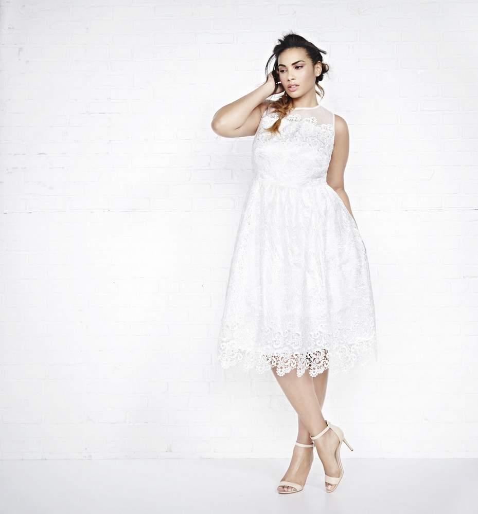 Addition Elle Violets & Roses Fit & Flare Midi Plus Size Wedding Dress