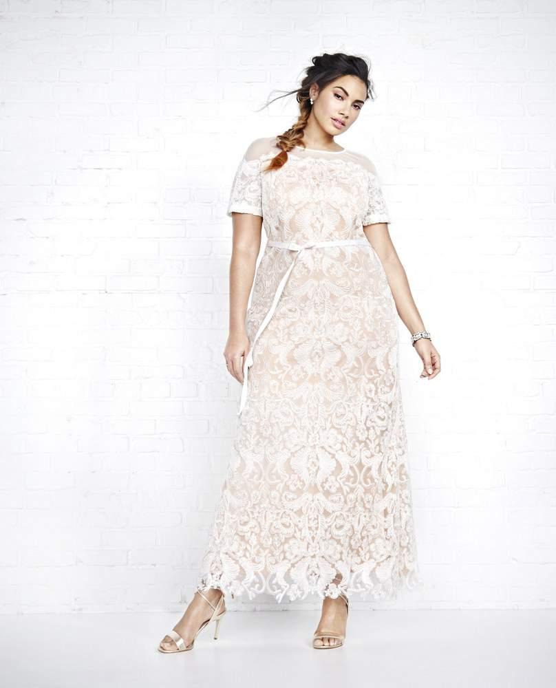 Addition Elle Violets & Roses Contrast Lace Plus Size Wedding Dress