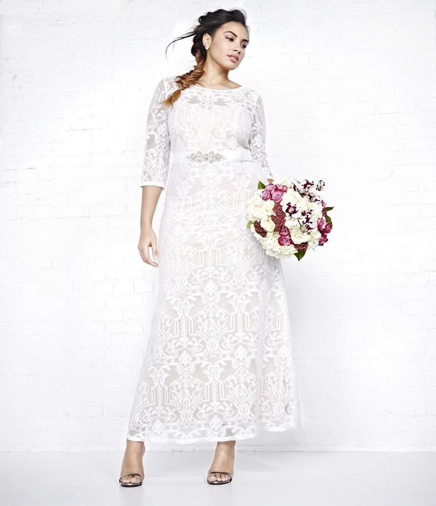 Addition Elle VIOLETS & ROSES BELTED LACE Plus Size WEDDING DRESS
