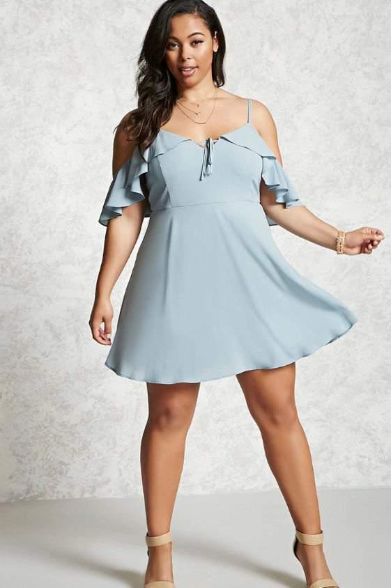 Plus Size Open-Shoulder Dress