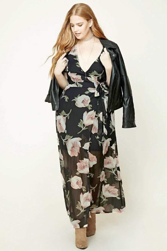 Plus Size Mock Wrap Maxi Dress