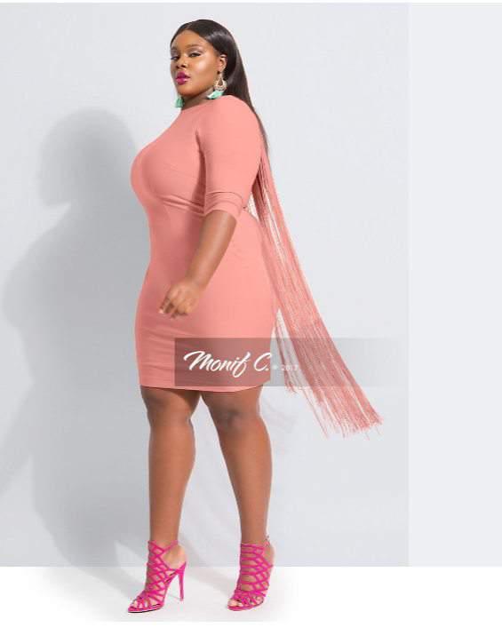 Josie Fringe Dress in Blush