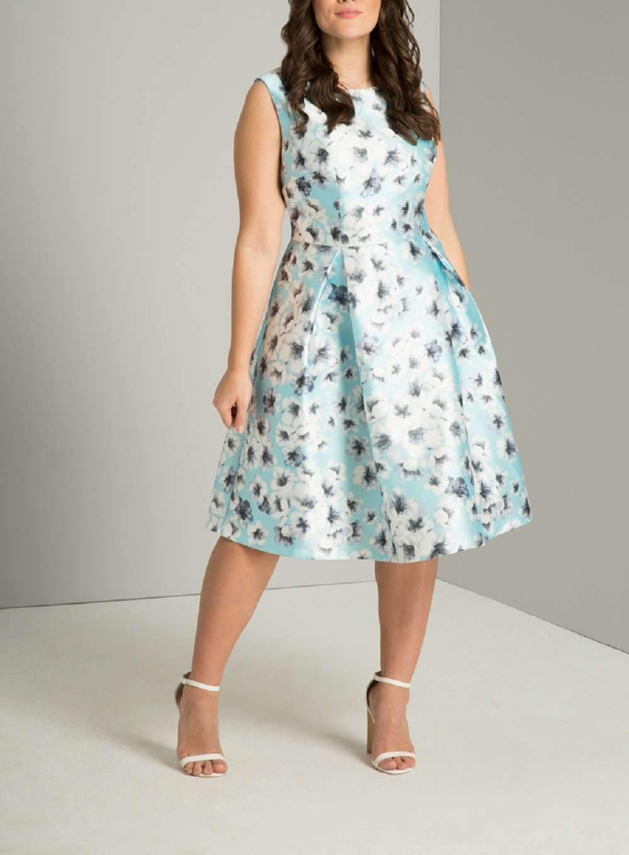 Chi Chi London Curve Blue Floral Print Midi Dress