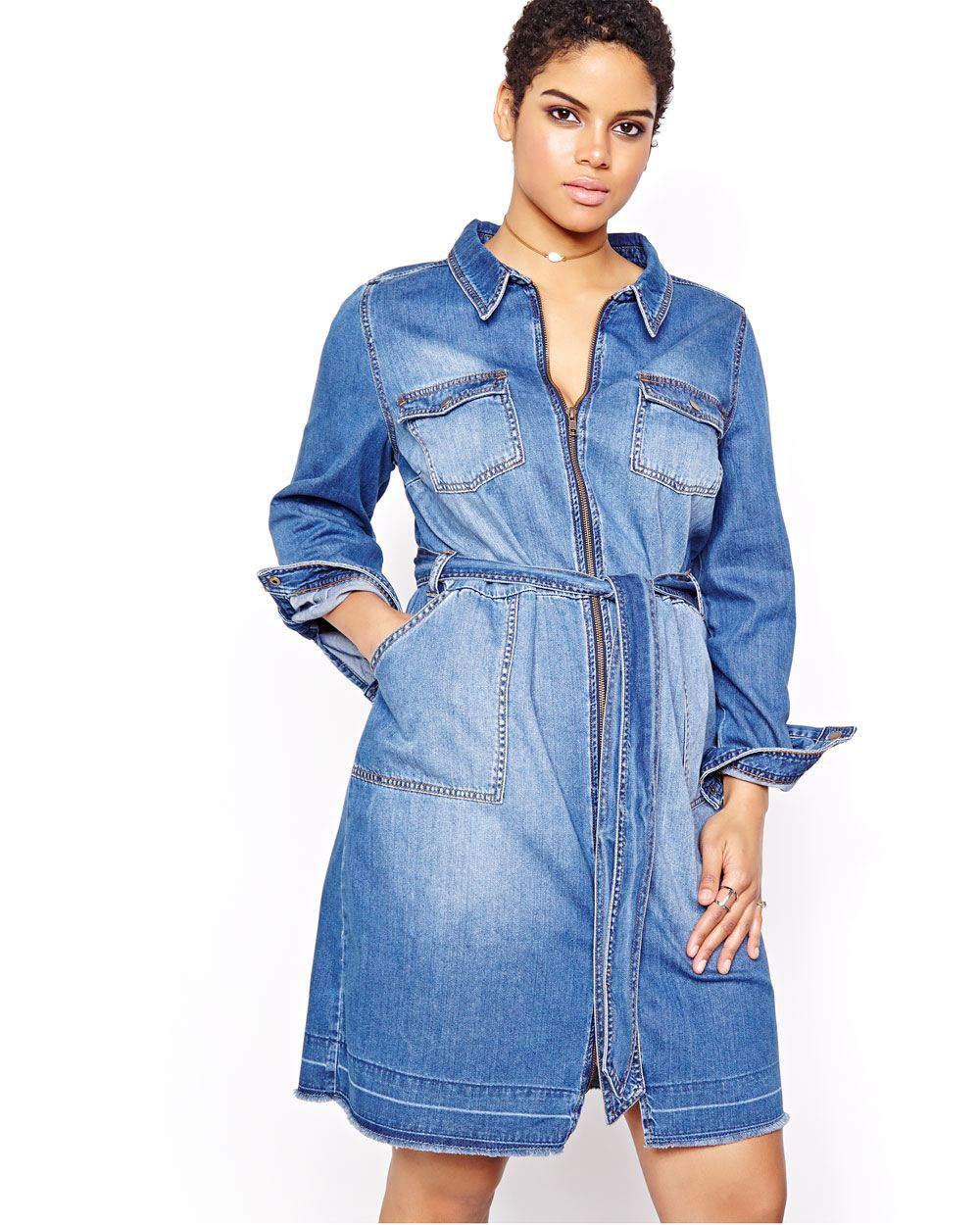 L&L Denim Shirt Dress at AdditionElle