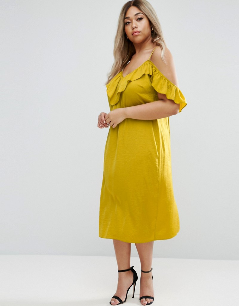 Plus Size Satin Ruffle Cami Cold Shoulder Midi Dress